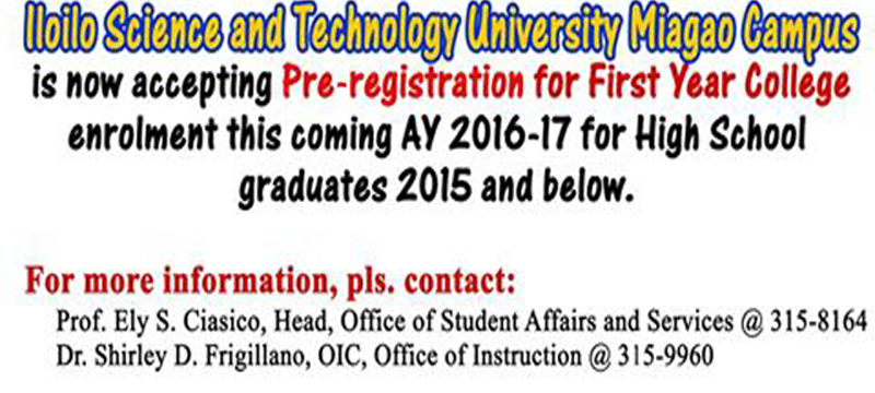 ISAT U Miagao Campus is Accepting First Year College for 2015 High School Graduates